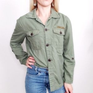 American Eagle Green Studded Button Down Shirt 590